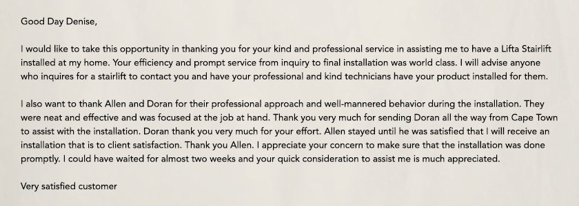 Feedback from our costumers