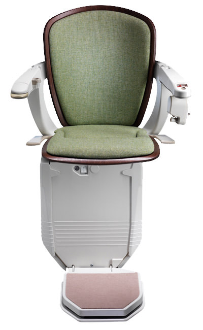 Stairlift Starla green with dark wood