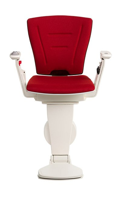 Stairlift Vario dark wood red fabric