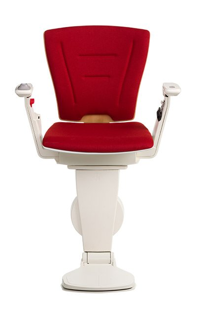 Stairlift Vario natural wood red fabric
